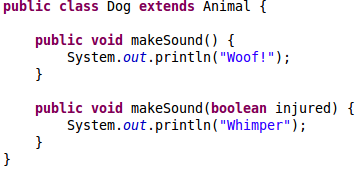 Example of overloaded method makeSound()